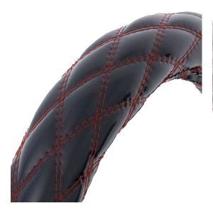 ハンドルカバー 富士ダブルステッチ 【2HS】 モコモコ 黒/赤糸|tokyomach7