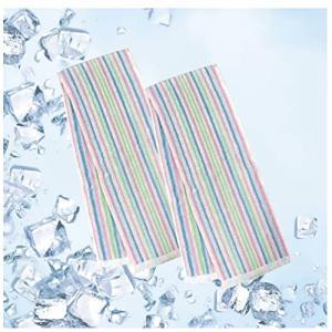 クールタオル 冷却タオル 接触冷感 クールマフラー 冷たいタオル 濡らさなくても冷たい ストライプ ...