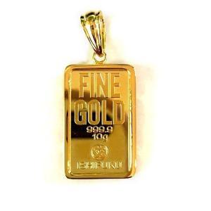 【送料無料】 24金 純金 [石福 純金インゴット 10g] ゴールドバー+専用ペンダント枠(シルバー925)
