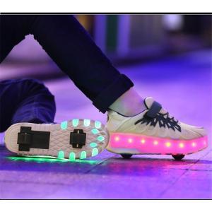 ローラーシューズ 3色展開 ローラースケートシューズ 大人用/子供用 光ウォール USB充電式 格納...