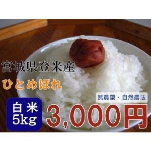 ひとめぼれ 5kg 白米 新米 平成28年産 宮城県登米産 農薬・化学肥料不使用