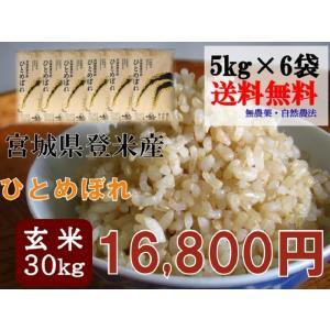ひとめぼれ 30kg (5kg×6袋) 玄米 送料無料  29年 宮城 登米 米 特別栽培米 農薬・化学肥料不使用|tomerice