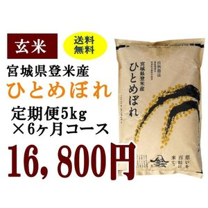 定期便6ヶ月コース:ひとめぼれ玄米5kg 宮城県登米産|tomerice