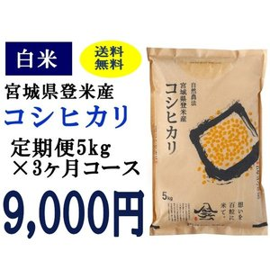 定期便3ヶ月コース:コシヒカリ白米5kg 宮城県登米産|tomerice