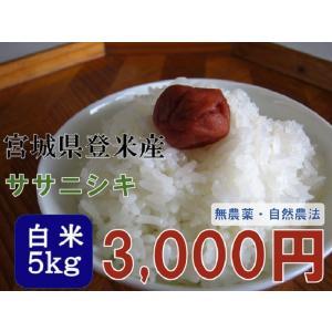 新米 30年産 ササニシキ 5kg 白米  宮城 登米 米 特別栽培米 農薬・化学肥料不使用|tomerice