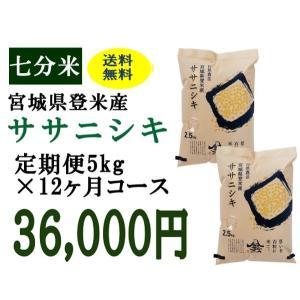 定期便12ヶ月コース:ササニシキ七分5kg 宮城県登米産|tomerice