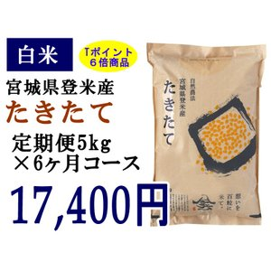 定期便6ヶ月コース:たきたて白米5kg 宮城県登米産|tomerice
