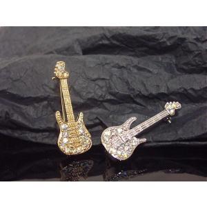 ラインストーンギターブローチ・キラキラストーン/Music/Rock/ミュージック(BR-2465-1)|tomine