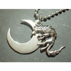 ストーン入り・ムーンウルフネックレス・狼・月・Mens・Moon・Wolf・メンズネックレス|tomine
