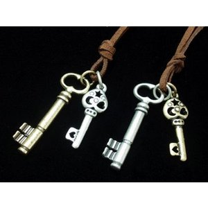 ダブルキー ロングチョーカー ユニセックス・ ネックレス メンズ・レディース・鍵・Key|tomine