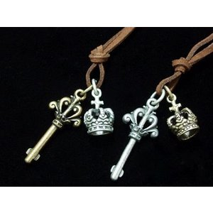 キー&クラウン・ロングチョーカー80cm・Key・王冠・Crown・鍵・ゴールドorシルバー/M-2593|tomine