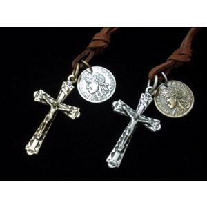 (メール便可)ユニセックス ロングチョーカー・キリストクロス&コイン/十字架・Coin・Cross/ M-2598|tomine