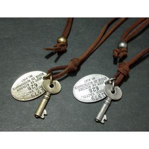 (メール便可)楕円プレート&キー・ロングチョーカー80cm・オーバル・プレート・Key・鍵・ユニセックス|tomine