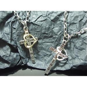 (メール便可)ハート掛けメッセージクロスネックレス・ユニセックス・ペア・十字架・Heart/M-2899|tomine