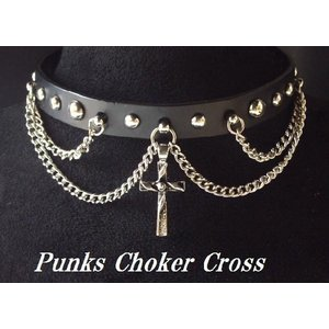 クロスが印象的なレザーパンクチョーカー  本革PUNKSチョーカー・クロス/十字架/N-2835|tomine