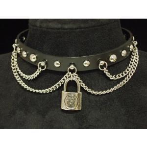 (クロスが印象的なレザーパンクチョーカー )本革レザーパンクチョーカー・本革PUNKSチョーカー・Rock錠&チェーン/Key/キー・レザー|tomine