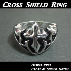 クロス&シールド リング・メンズリング・Cross・十字架・楯・盾・エンブレム・Mens・Rock|tomine