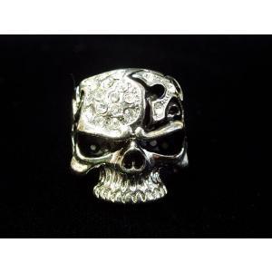 (メール便可)[Cross of the hell]ラインストーンスカルリング/ドクロ/ロック/Rock/Punk/R-2821 tomine