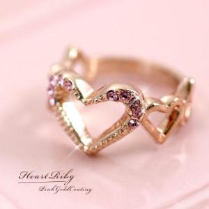 スウィートでロマンチックなきらめくハートリング♪ピンク ラインストーン♪SL-1215|tomine