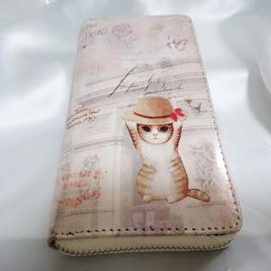 かわいいネコちゃん エナメル調ラウンドファスナーウォレット 小銭入れ付 長財布 猫 ねこ キャット tomine