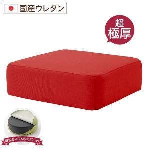 極厚 低反発クッション/インテリア雑貨 (スクエアタイプ レッド) 洗えるカバー 日本製ウレタン使用...