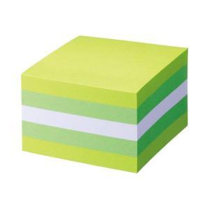 (まとめ) TANOSEE ふせん カラーブロック 75×75mm パステルグリーン 1冊 (×10...