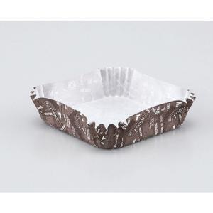 純白ペット 英字柄 茶角 78×78×20H / 300枚 TOMIZ/cuoca(富澤商店) ベーキングカップ グラシンカップ|tomizawa