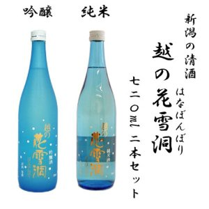 (お歳暮に!早割り中!ギフト包装・送料無料)越の花雪洞 吟醸・純米 720ml飲み比べ2本セット|tomoda