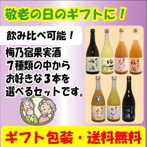 (敬老の日・贈り物に!)梅乃宿 果実酒 720ml選べる3本セット(送料など無料)|tomoda