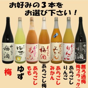 梅乃宿 果実酒 1800ml選べる3本セット|tomoda