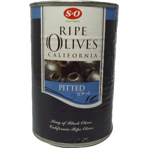 (訳あり品)SO ライプオリーブピテット種抜き ブラックオリーブ 4号缶|tomoda