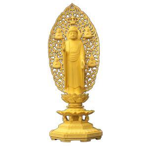 木彫仏像 釈迦如来立像(四菩薩光背)八角台6.0寸桧木(受注生産)  ひのき 送料無料|tomoe3