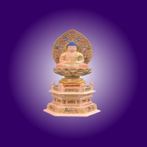 木彫仏像 釈迦如来座像草光背六角台3.0寸桧木 ひのき 彩色(受注生産)|tomoe3
