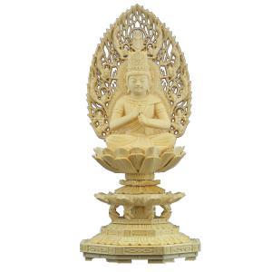 木彫仏像 大日如来座像飛天光背八角台2.5寸柘植 ツゲ 送料無料(受注生産)|tomoe3