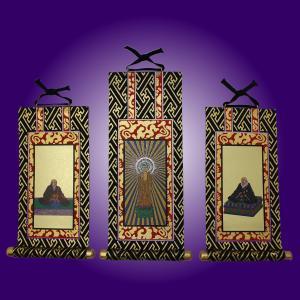 オリジナル 掛軸  高さ19.5cm 浄土真宗本願寺派  阿弥陀如来 蓮如上人 親鸞聖人三枚セット|tomoe3