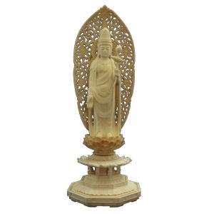 木彫仏像/聖観音立像4.0寸草光背八角台桧木 ヒノキ|tomoe3