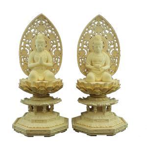 木彫仏像 観音勢至菩薩座像2.5寸一対草光背八角台桧木|tomoe3