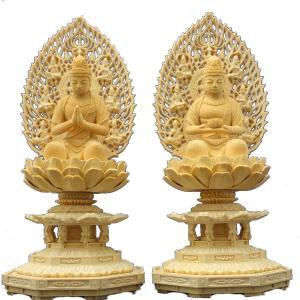 木彫仏像 観音勢至菩薩座像2.5寸一対飛天光背八角台桧木|tomoe3