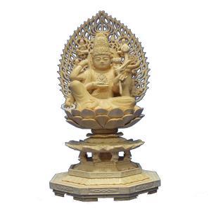 木彫仏像 如意輪観音座像(一面六臂)2.5寸飛天光背八角台桧木  ヒノキ|tomoe3