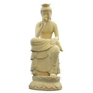 木彫仏像 弥勒菩薩半跏像19cm桧木 ヒノキ ひのき 1(受注生産)|tomoe3