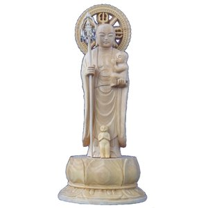 木彫仏像 子育(水子)地蔵立像身丈2.5寸円光背(容器)蓮台柘植 ツゲ|tomoe3