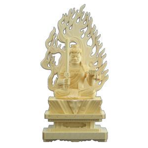 木彫仏像 仏像 不動明王座像火炎光背四角台2.0寸桧木 tomoe3