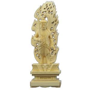 木彫仏像 不動明王立像火炎光背四角台4.0寸桧木   ひのき tomoe3