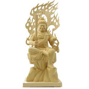 木彫仏像/座不動明王半跏像火焔光背3.5寸 ヒバ材 (受注生産) tomoe3