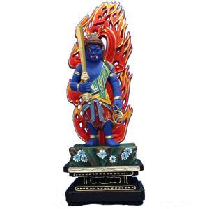 木彫仏像 不動明王立像火炎光背四角台4.0寸彩色桧木ヒノキ tomoe3