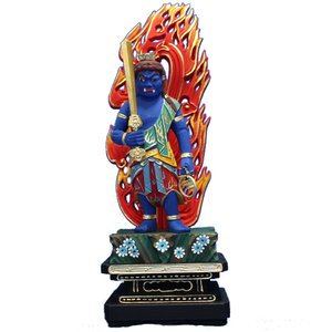 木彫仏像 不動明王立像火炎光背四角台6.0寸彩色桧木ヒノキ(受注生産) tomoe3