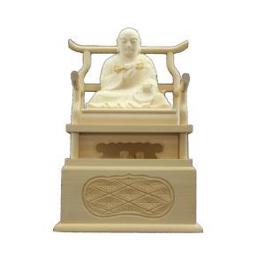 木彫仏像 弘法大師座像四角台2.0寸桧木 ひのき(受注生産)|tomoe3