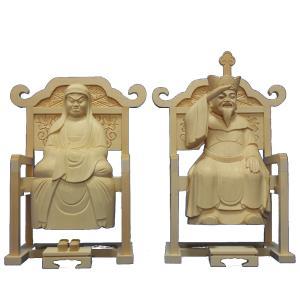 木彫仏像 達磨 大権大師21cm一対桧木 置物 インテリア 工芸|tomoe3