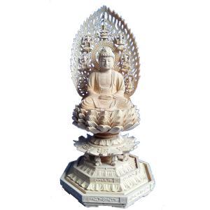 仏像 木彫り 釈迦如来座像 飛天光背八角台身丈8寸 総高80cm桧木(受注生産)|tomoe3
