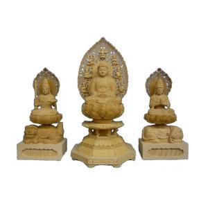 仏像 木彫り 釈迦三尊像(釈迦80cm文殊普賢60cm)桧木 (受注生産)|tomoe3